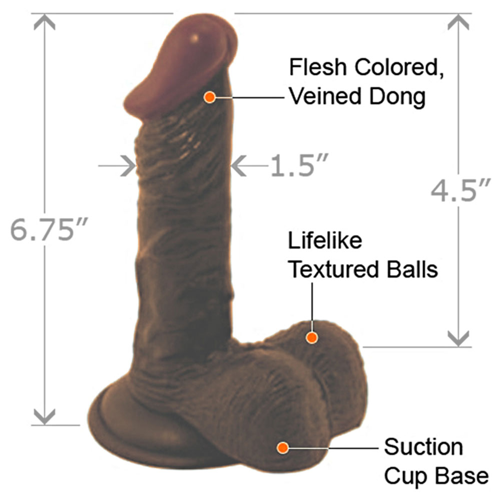 "Nasstoys LifeLikes Black Prince Dong with Balls 6.75"" Ebony - View #1"