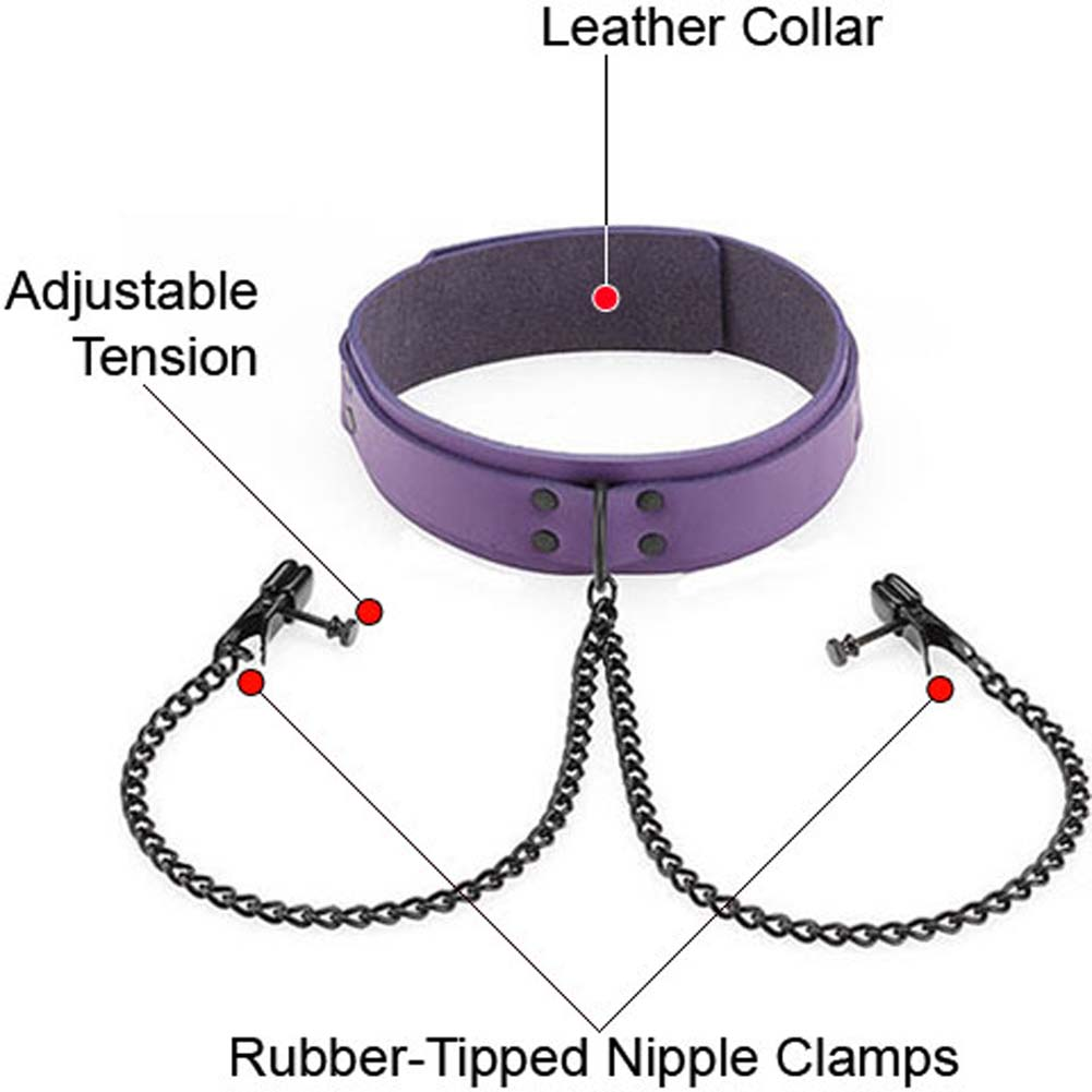 Spartacus Crave Leather Purple Collar with Black Wide Nipple Clamps - View #1