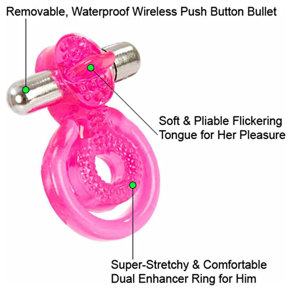 Clit Flit Vibrating Love Ring with Turbo Bullet Vibe Bundle - View #1
