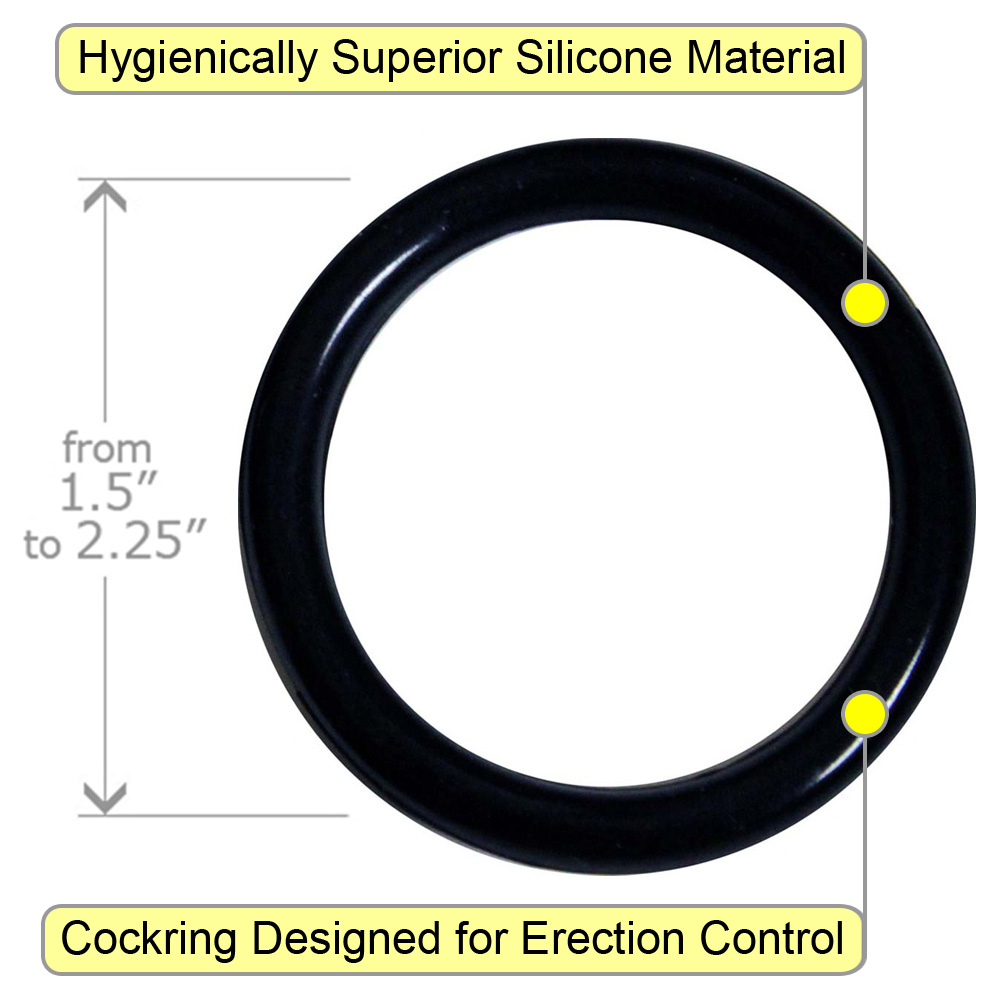 Silicone Erection Control Ring and Erotic Dice Set Black - View #1