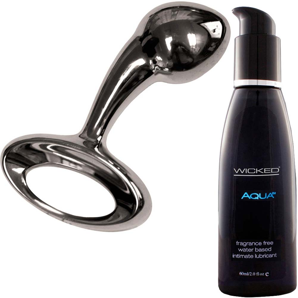 Njoy Pure Small Metal Butt Plug With Wicked Sensual Care Aqua Lube Kit - View #2