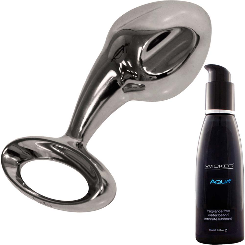 Njoy Pure 2.0 XL Metal Butt Plug With Wicked Sensual Care Aqua Lube Kit - View #2