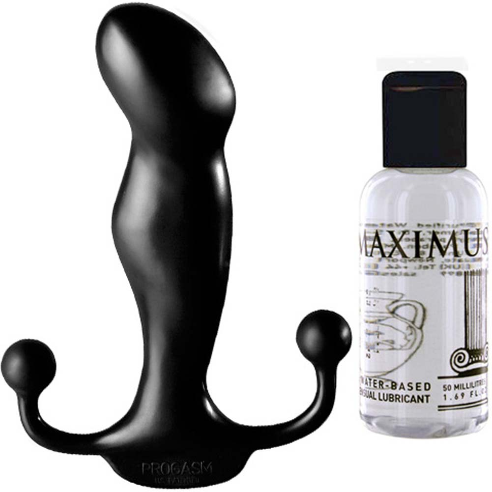 Aneros Progasm Ice Black Male G-Spot Stimulator With Maximus Hybrid Lube Kit - View #1