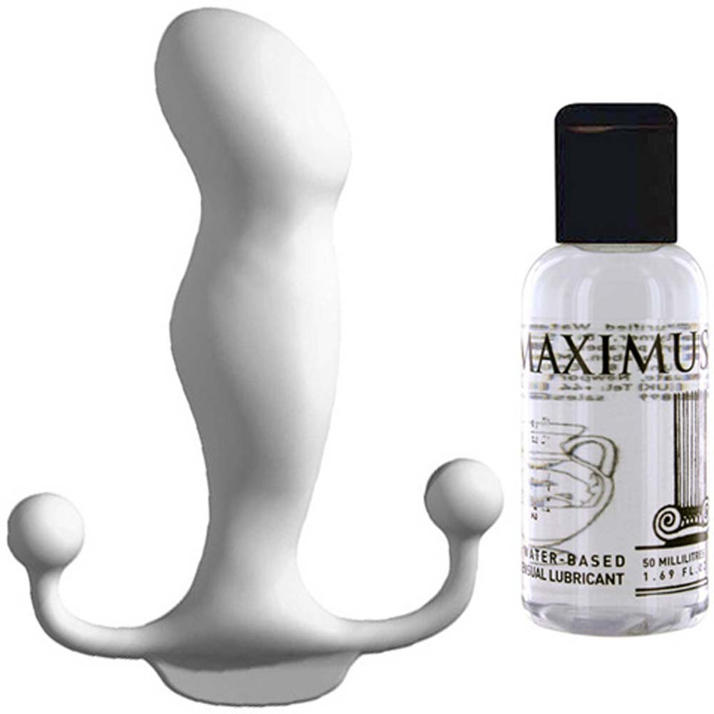 Aneros Progasm Ice White Male G-Spot Stimulator With Maximus Hybrid Lube Kit - View #1