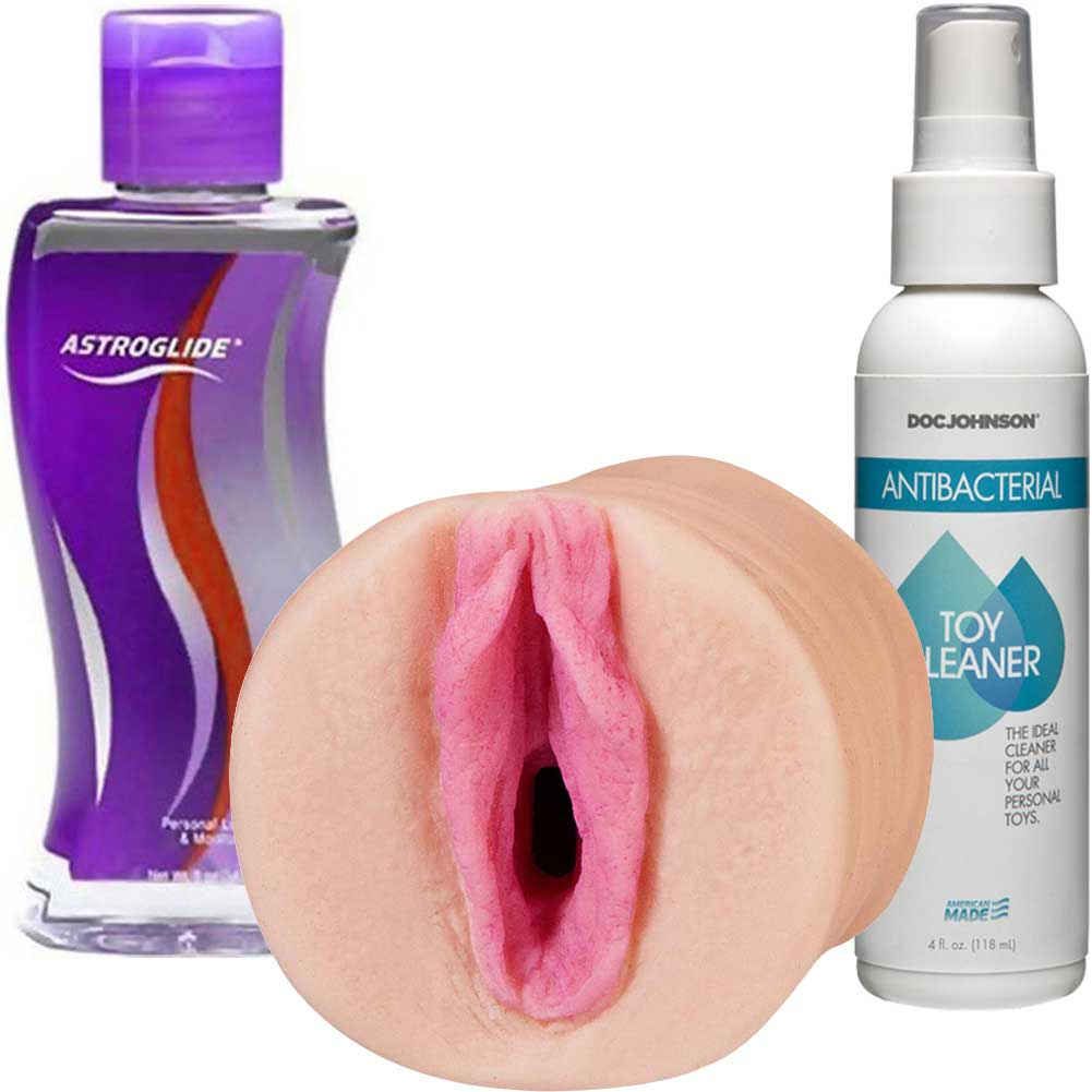 FAYE REAGAN Pocket Pussy Male Masturbator with Anti-Bacterial Toy Cleaner and Astroglide - View #2