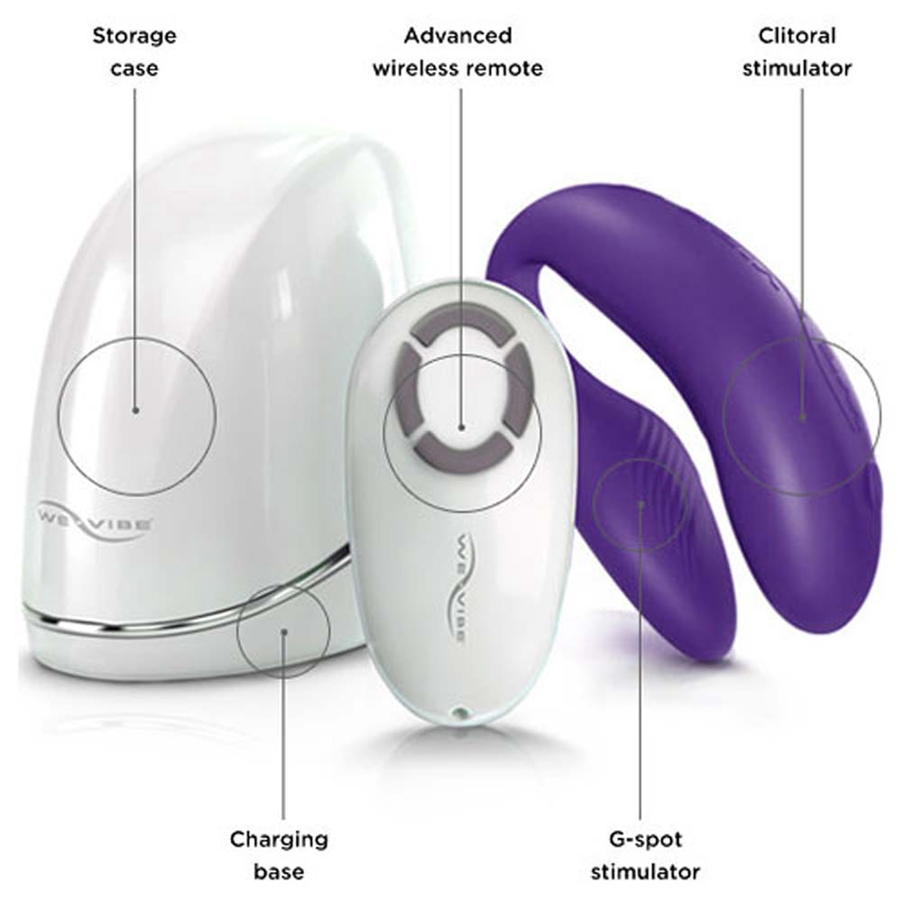 We-Vibe 4 with USB Charger Docking Station and Remote Purple Free Lube Sample - View #2