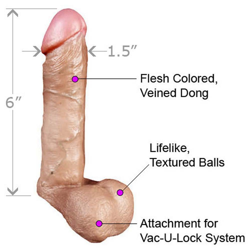 "Ultra Realistic 6"" White Flesh Cock Balls with Crotchless Harness - View #1"