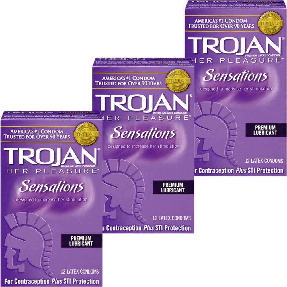 Trojan Her Pleasure Sensations Lubricated Condoms 12 Count Pack of 3 - View #2