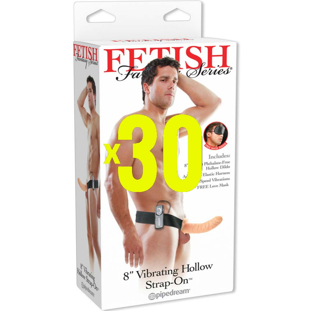 "30X Fetish Fantasy Series 8"" Vibrating Hollow Strap-On Dong Natural - View #2"