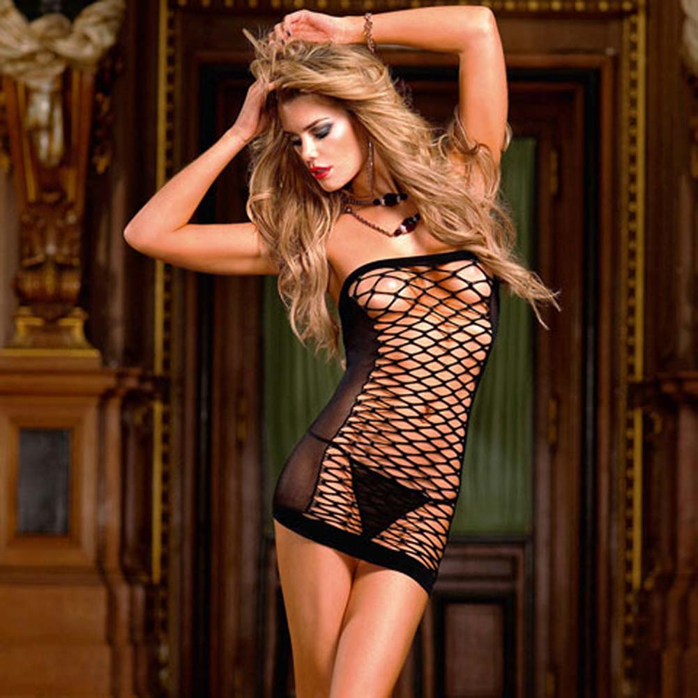 Front Fence Net Tube Dress Black - View #1
