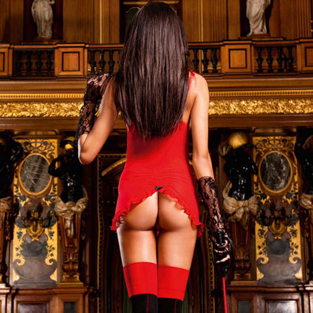 Show Me Garter Dress Red with Black Trim - View #2