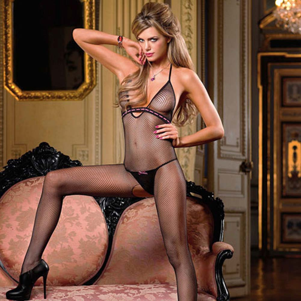 Elegant Empire Line Halter Bodystocking Black - View #1