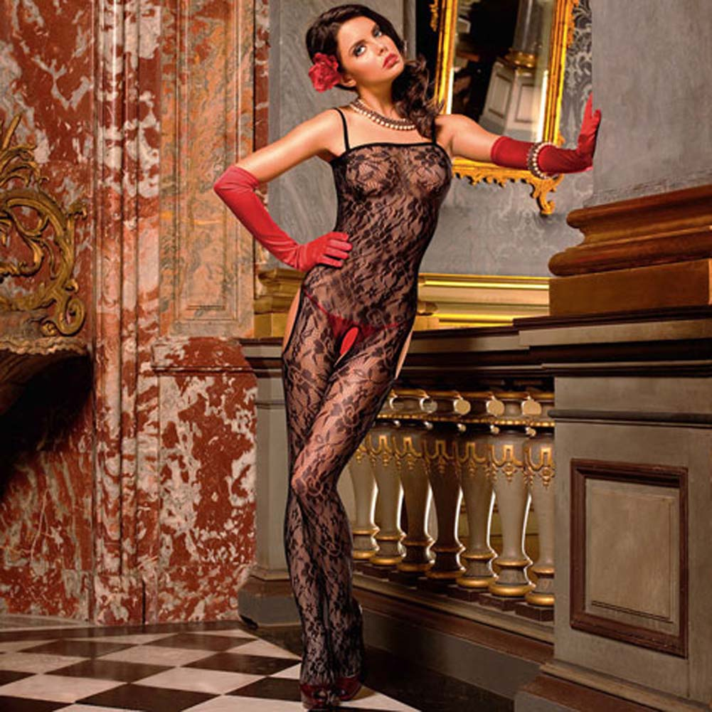 Flowered Lace Peek A Boo Bodystocking Black - View #1