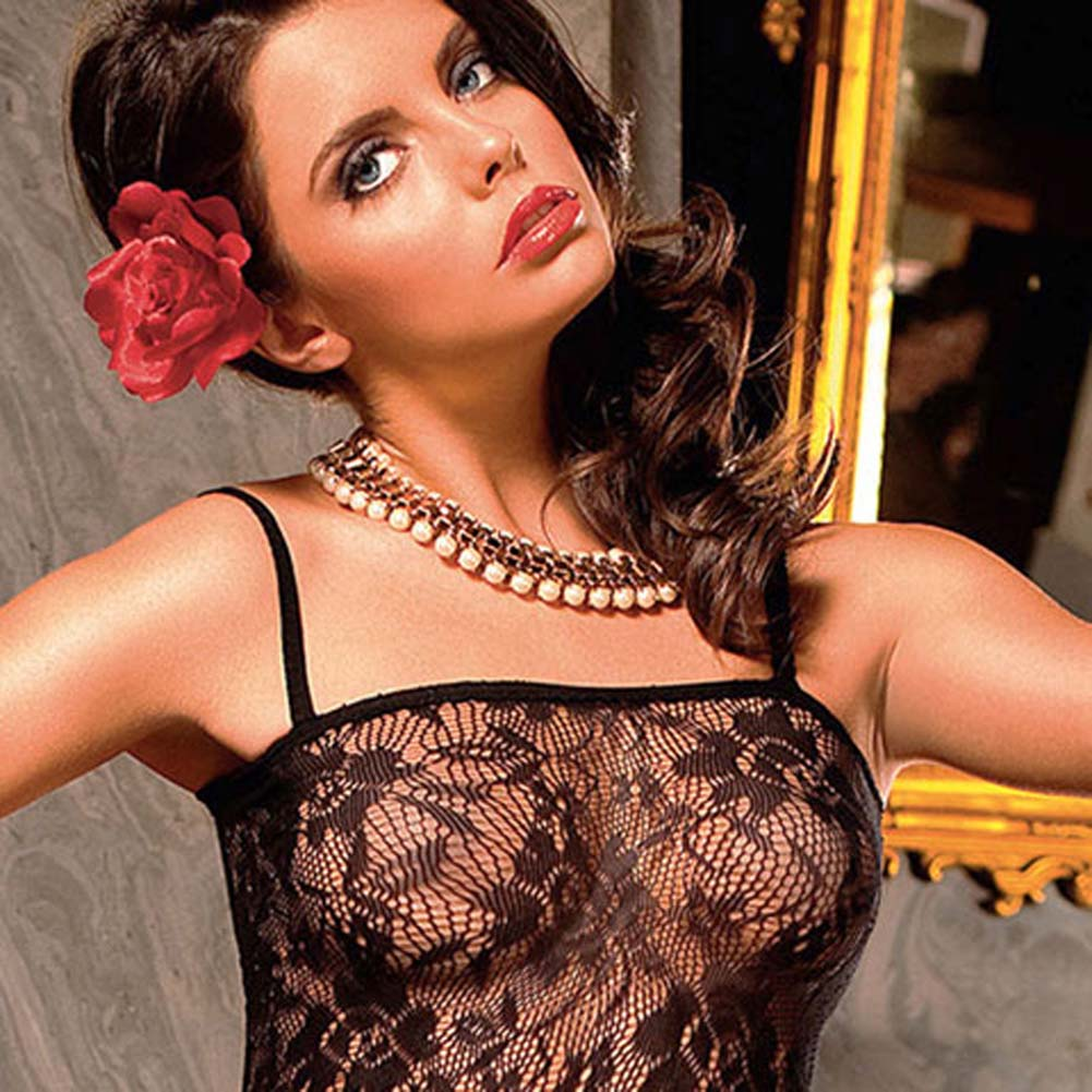 Flowered Lace Peek A Boo Bodystocking Black - View #3