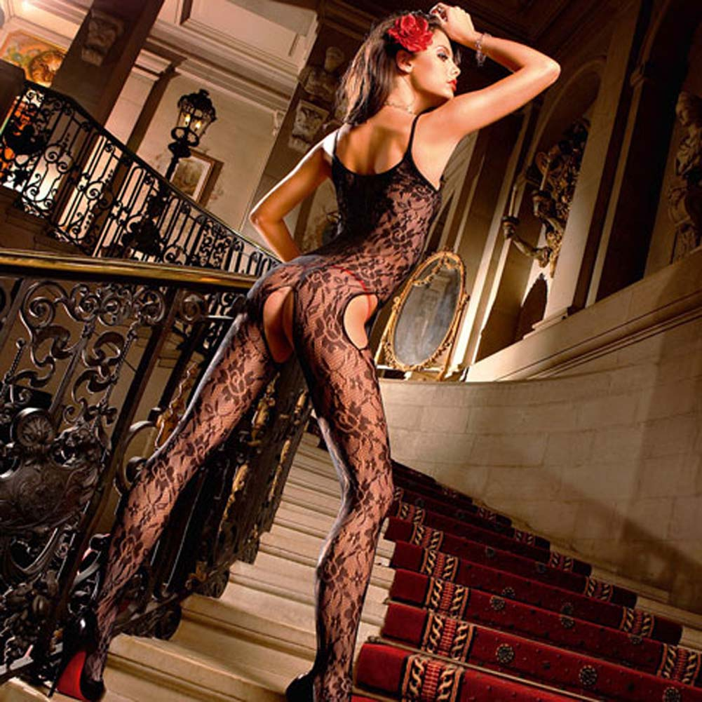 Floral Lace Open Crotch Bodystocking Black - View #2