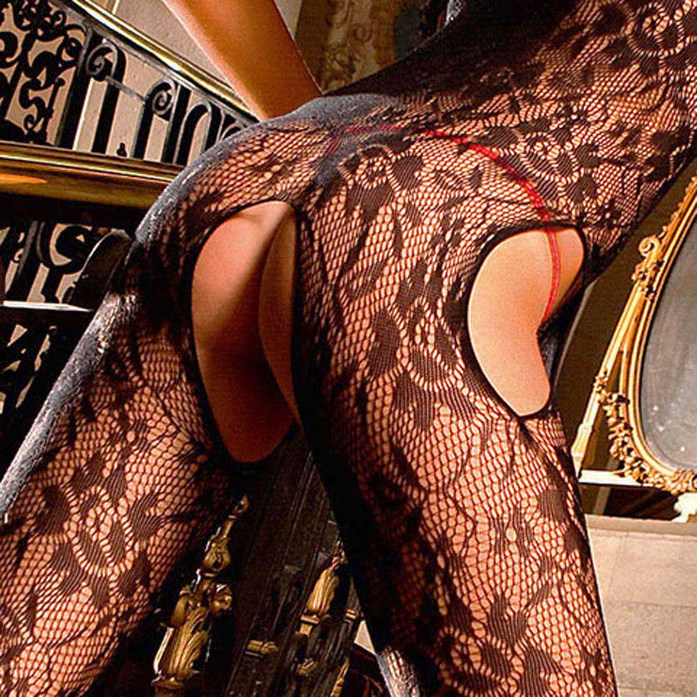 Floral Lace Open Crotch Bodystocking Black - View #4