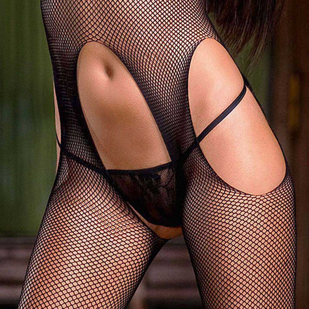 Baci Lingerie Suggestive Suspender Hose Bodystocking One Size Black - View #3