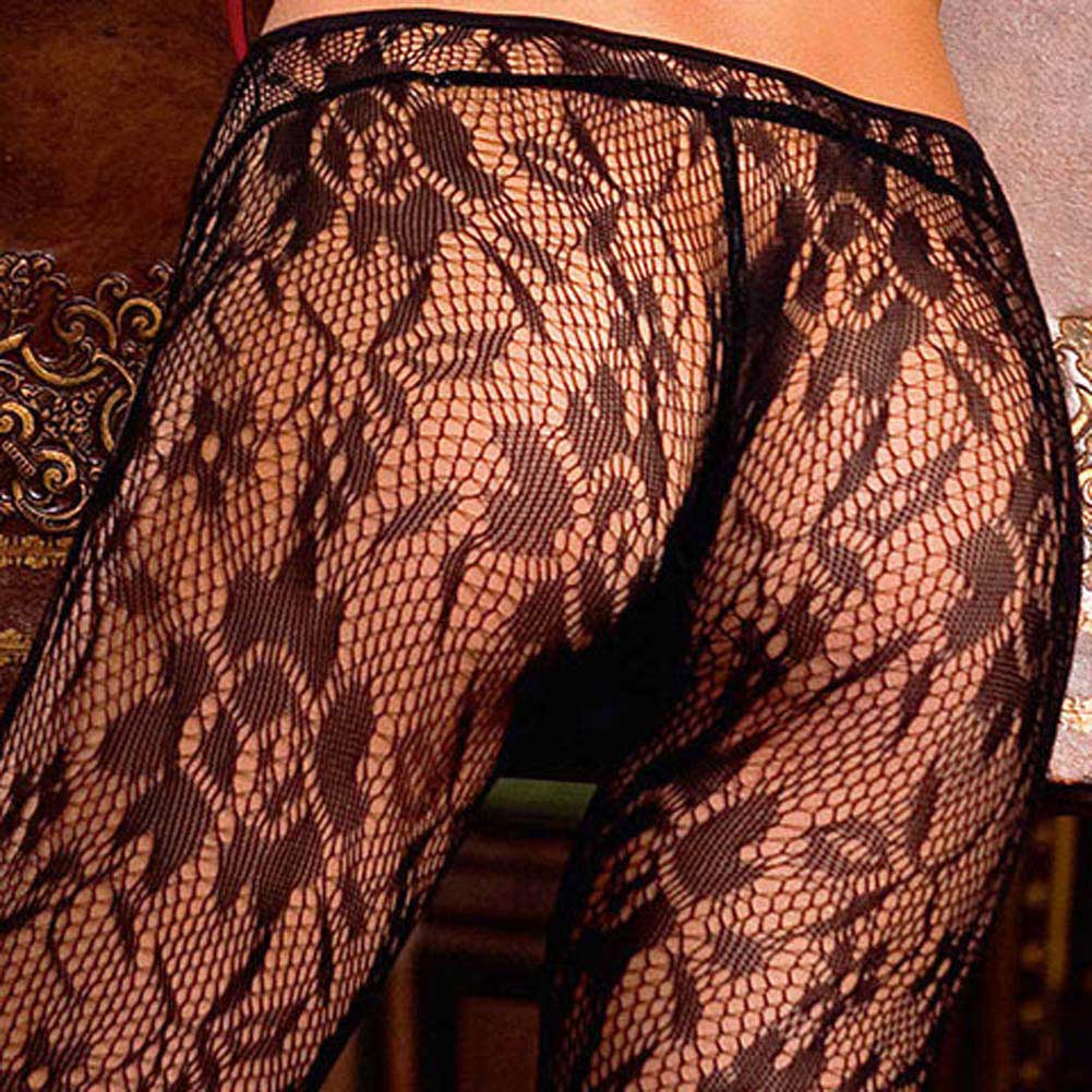 Trendy Ring and Floral Lace Bodystocking Black - View #4