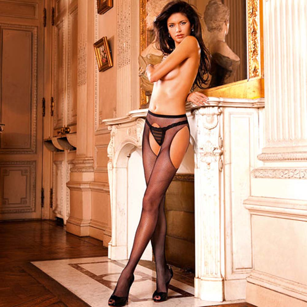 Alluring Woven Mesh Suspender Stockings Black - View #1