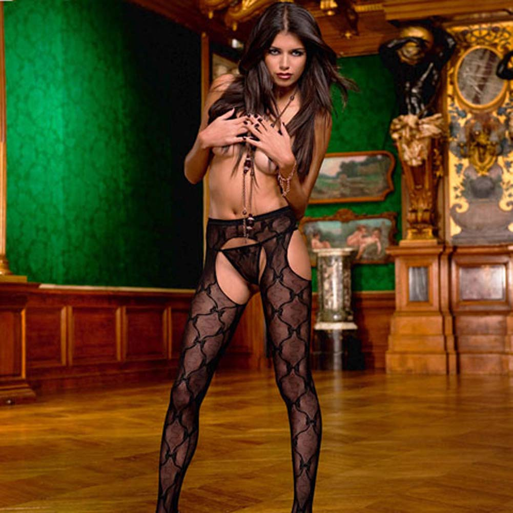 Bow Lace Suspender Pantyhose Black - View #1