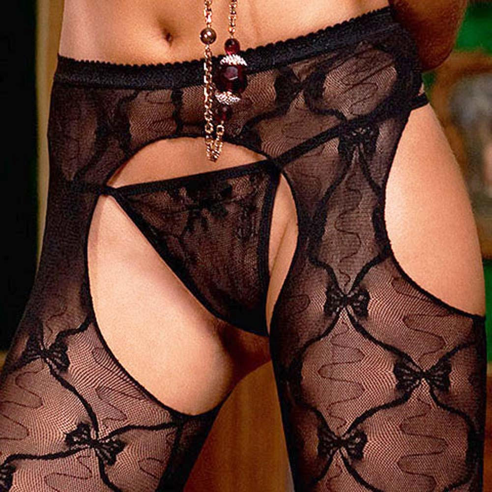 Bow Lace Suspender Pantyhose Black - View #3