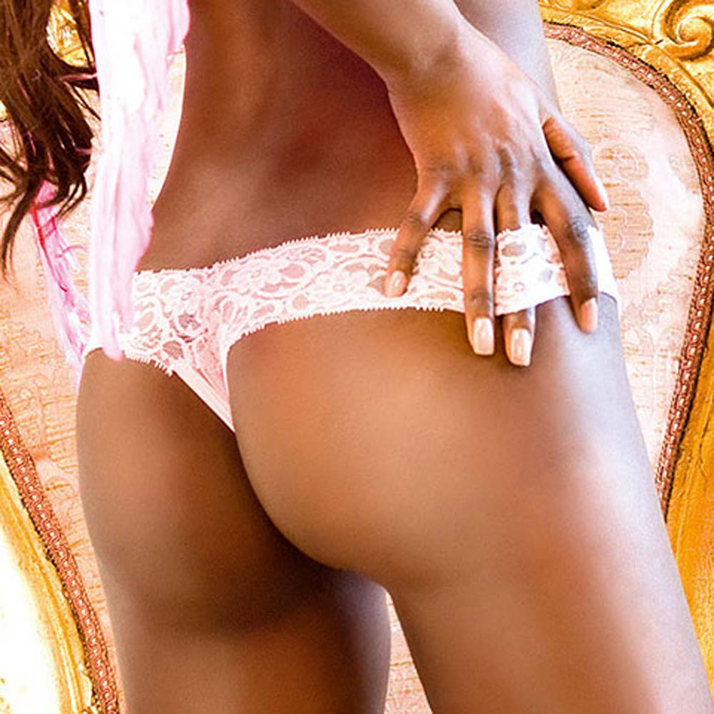 Lace Top Crotchless Panties Pink Large - View #4