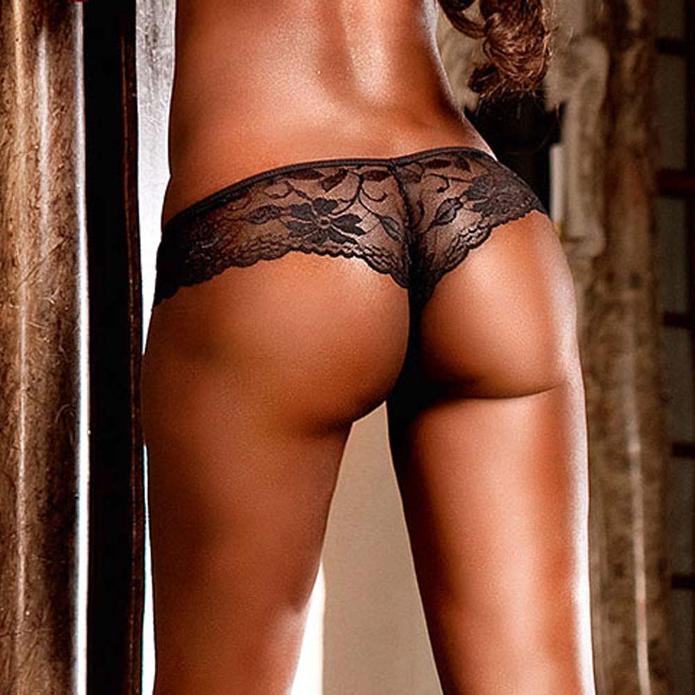 Low Rise Lace Booty Short Black Small - View #4