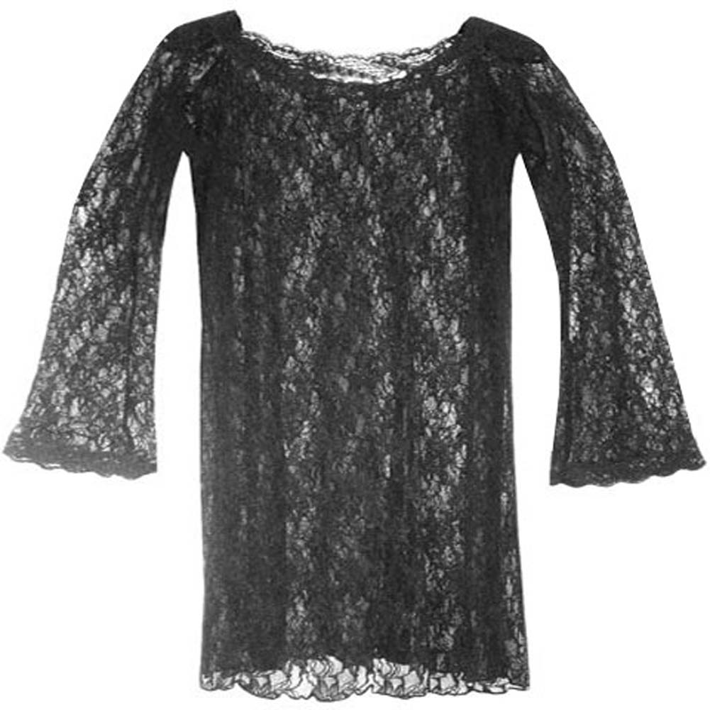 Long Sleeve Spanish Lace Dress Black Plus Size 1X - View #2