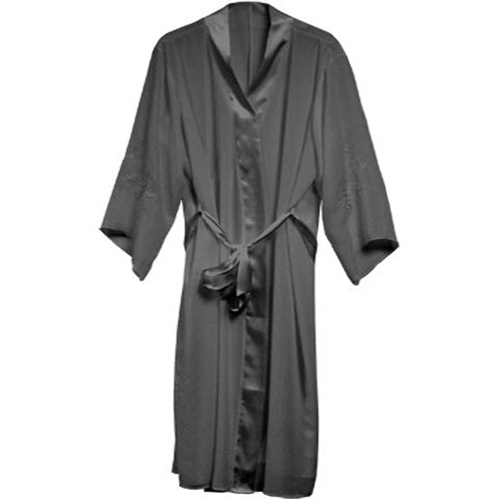 Appliqued Sleeve Robe Black Plus Size 1X - View #2