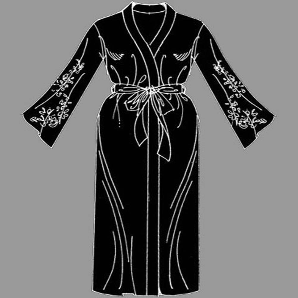 Appliqued Sleeve Robe Black Plus Size 2X - View #1