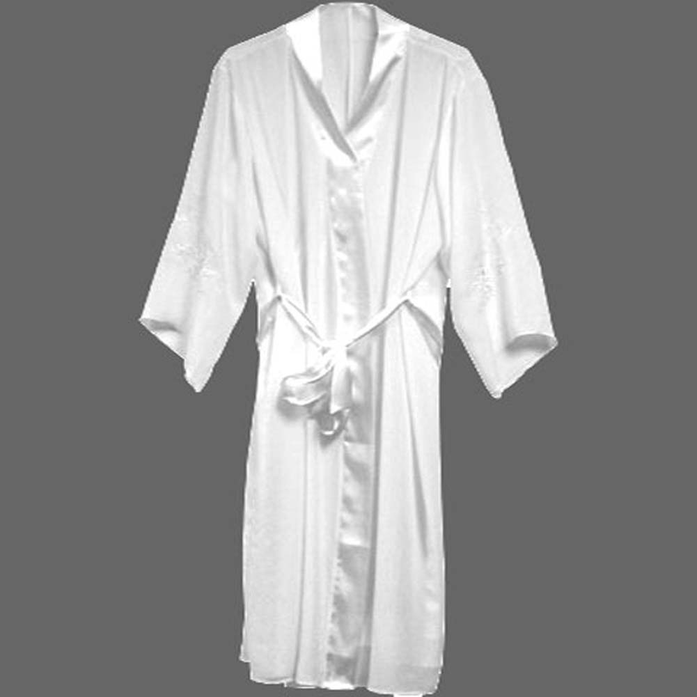 Night Sleep Sexy Wear Appliqued Sleeve Robe Plus Size 3X White - View #1