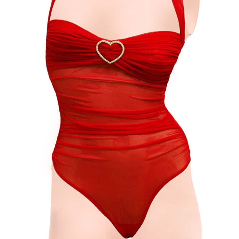 Romantic Mesh Teddy with Rhinestone Hearts Red Large - View #3