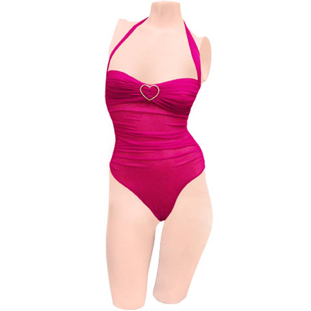 Romantic Mesh Teddy with Rhinestone Hearts Hot Pink Large - View #1