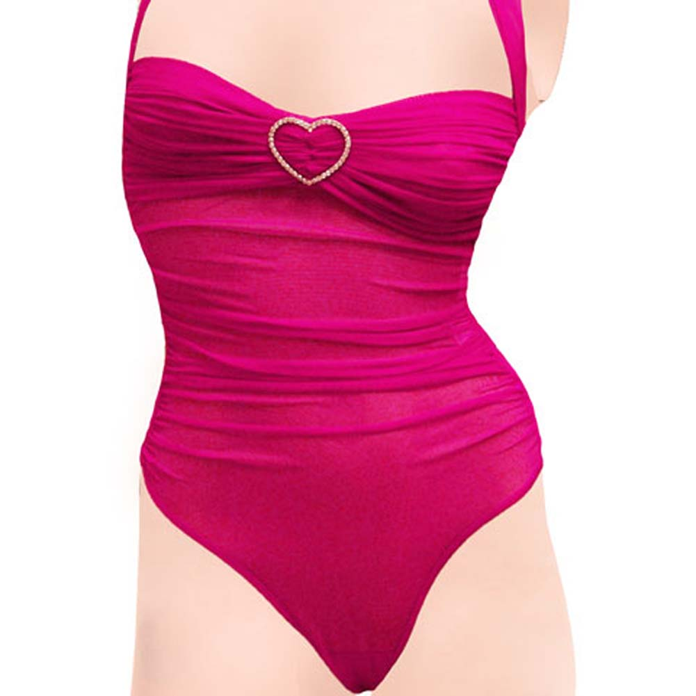 Romantic Mesh Teddy with Rhinestone Hearts Hot Pink Large - View #3