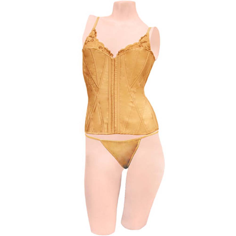 Dear Lady Collection Corset with Lace Cups and Matching Panty Set Size 36 Gold - View #1
