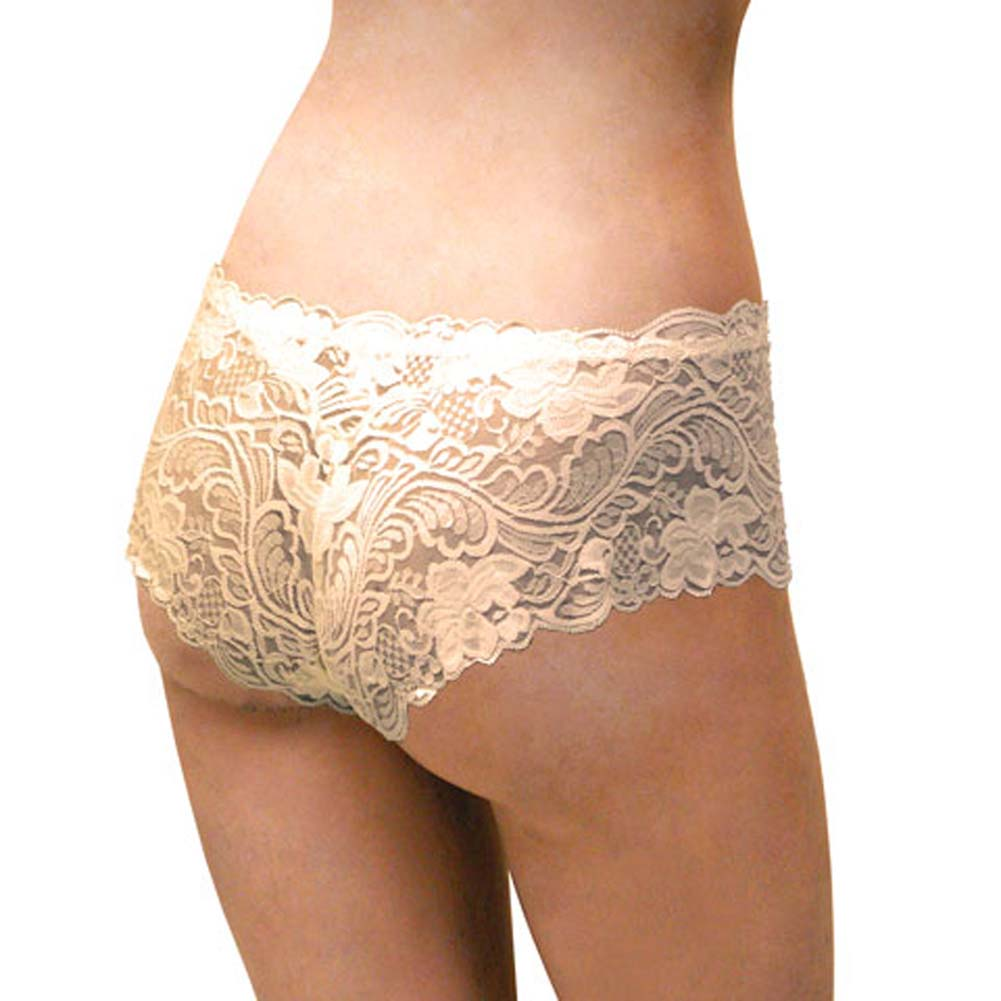 Floral Lace Boy Short Panty for Women Extra Small Ivory Orchids - View #2