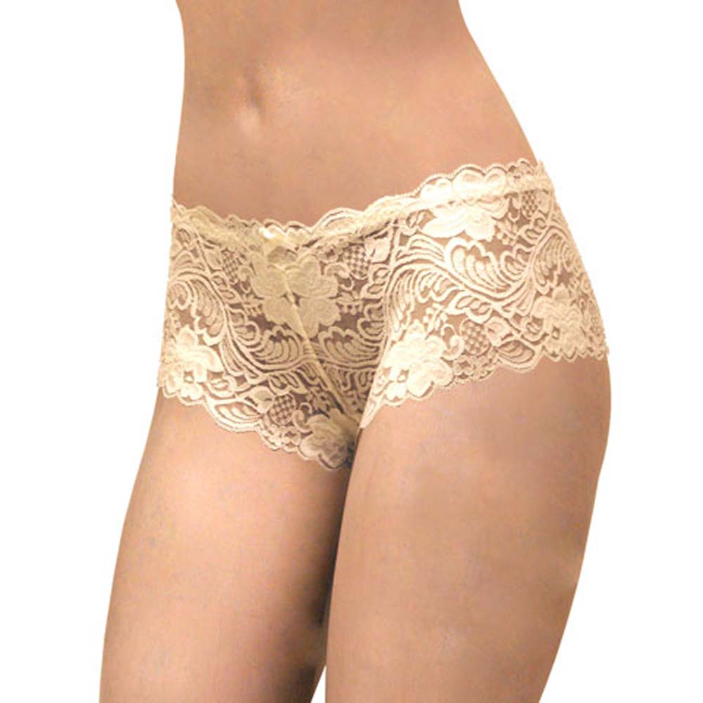Floral Lace Boy Short Panty for Women Small Ivory Orchids - View #1