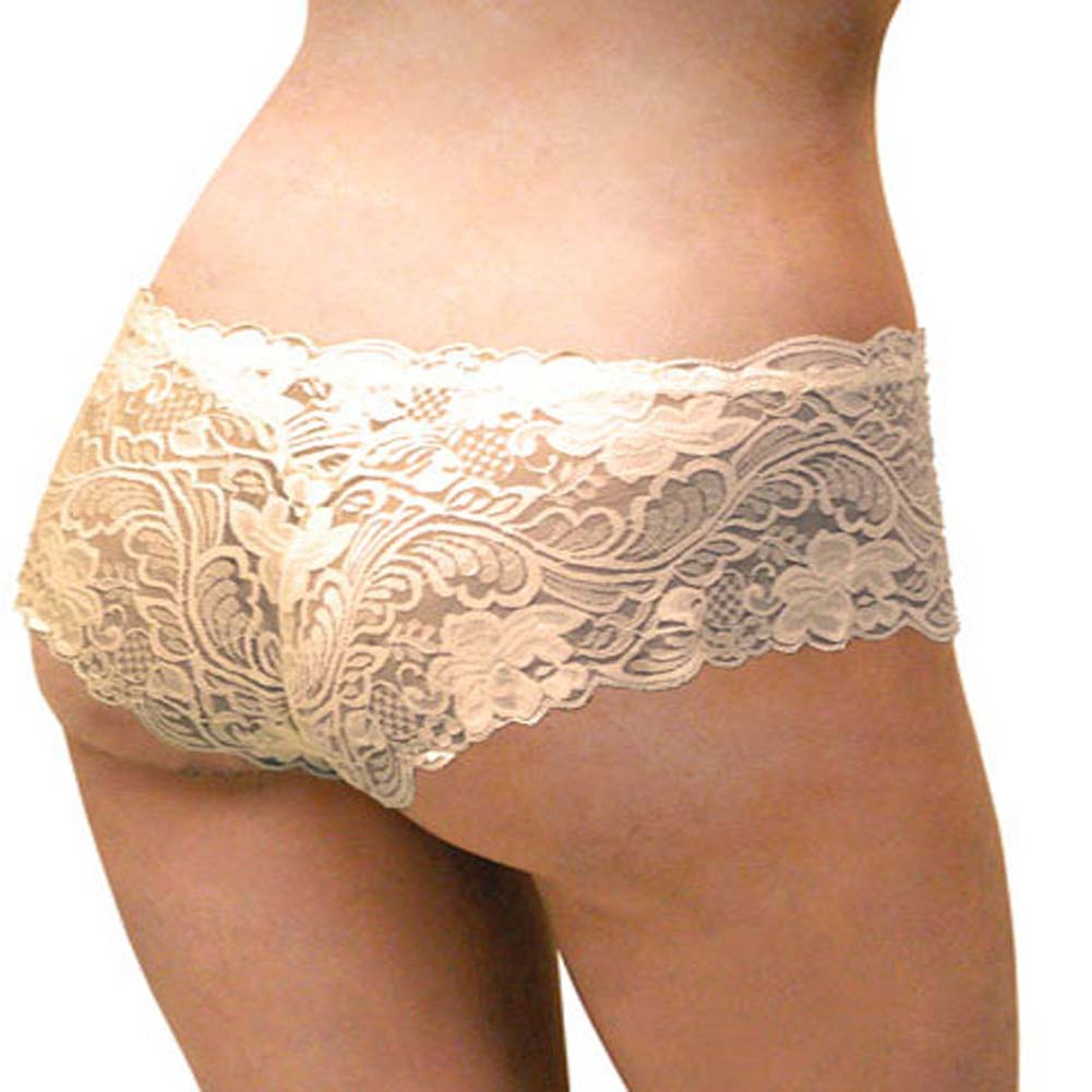 Floral Lace Boy Short Panty Ivory Orchids Extra Large Size - View #1