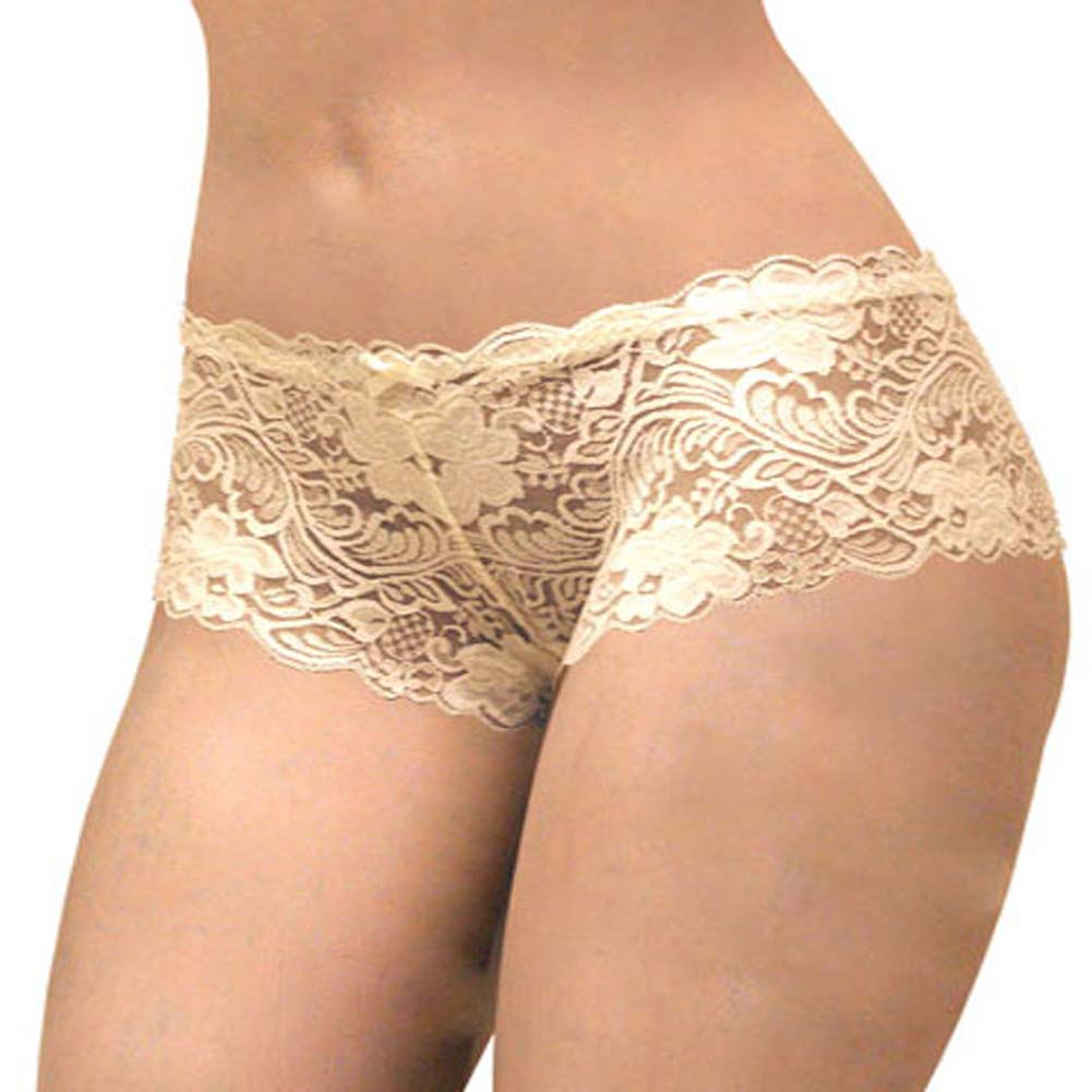 Floral Lace Boy Short Panty Ivory Orchids XX Large Size - View #2