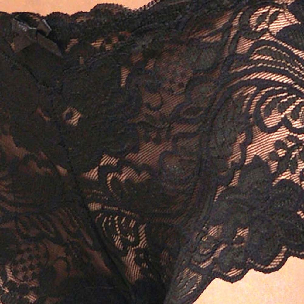 Floral Lace Boy Short Panty for Women Medium Fetish Black - View #3