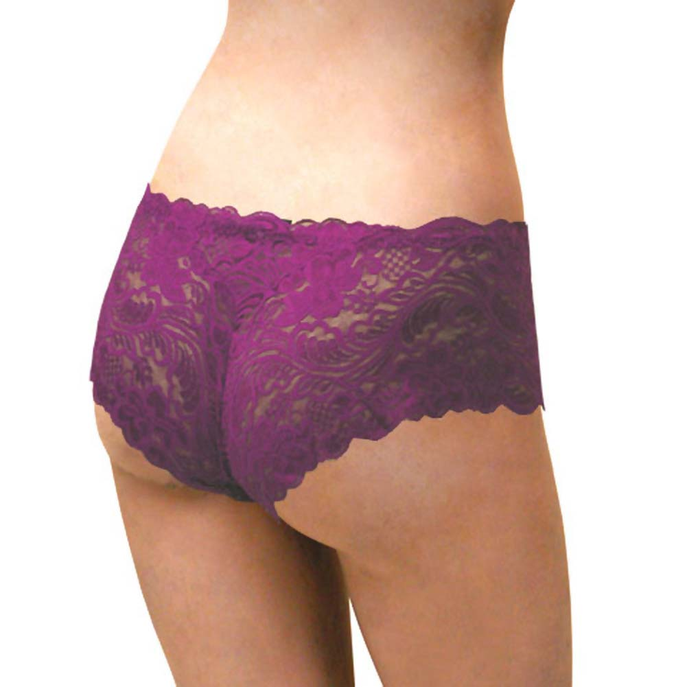Floral Lace Boy Short Panty for Women Medium Purple Lilies - View #2