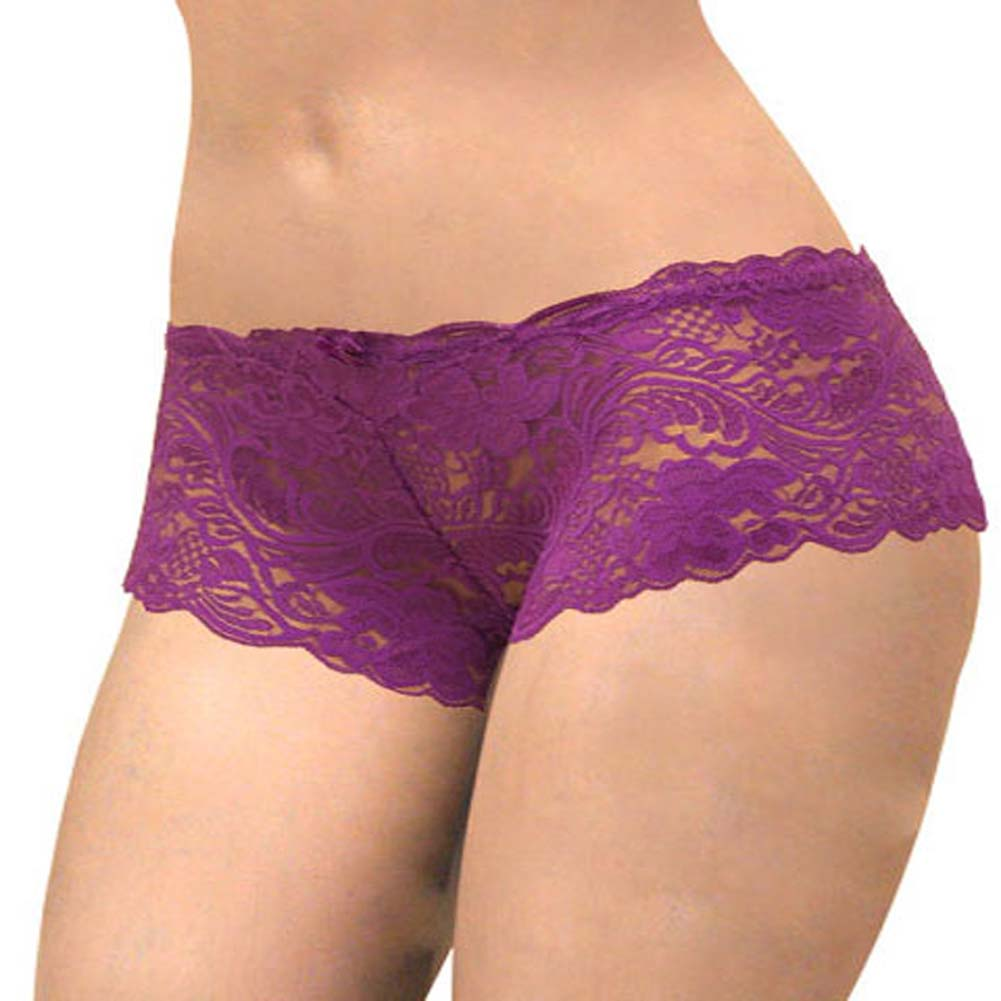 Floral Lace Boy Short Panty Purple Lilies Extra Large Size - View #2