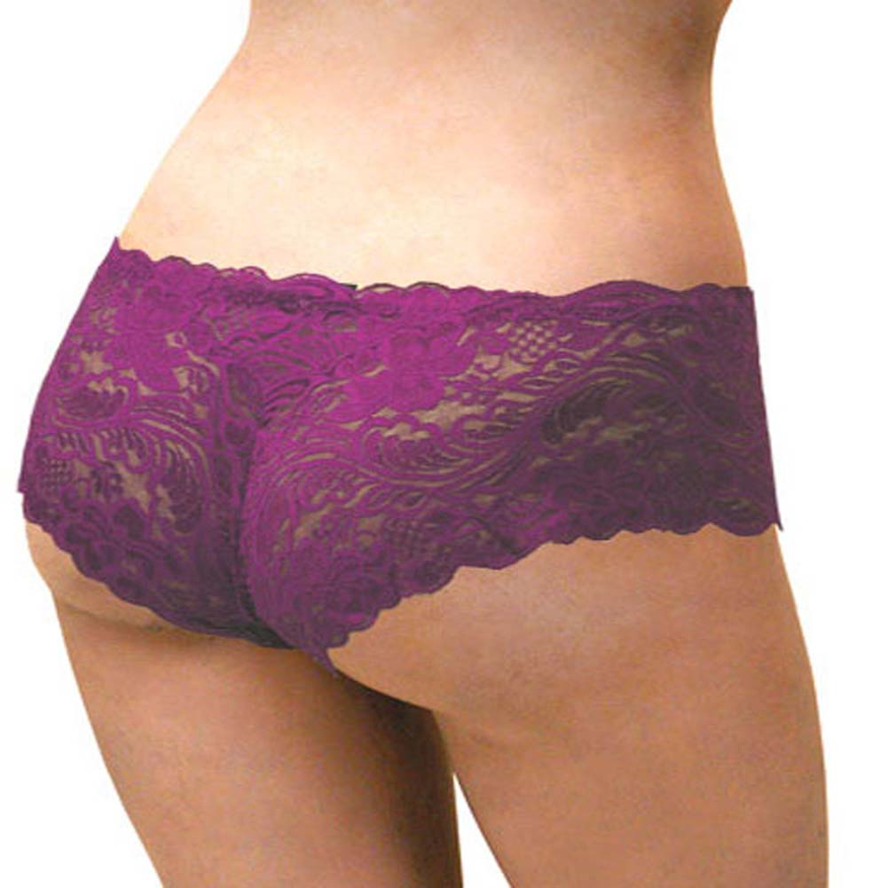 Floral Lace Boy Short Panty Purple Lilies XX Large Size - View #1