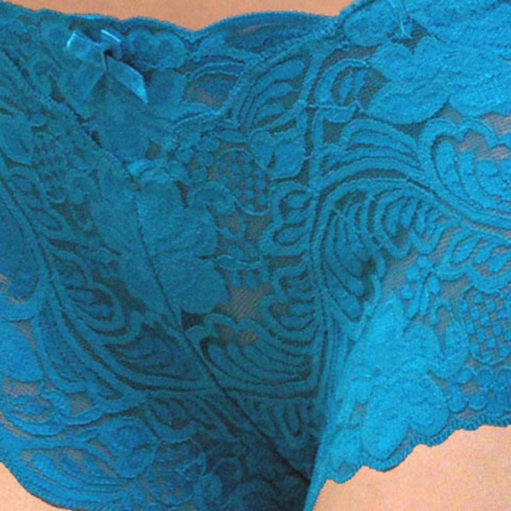 Floral Lace Boy Short Panty Blue Asters XX Large Size - View #3