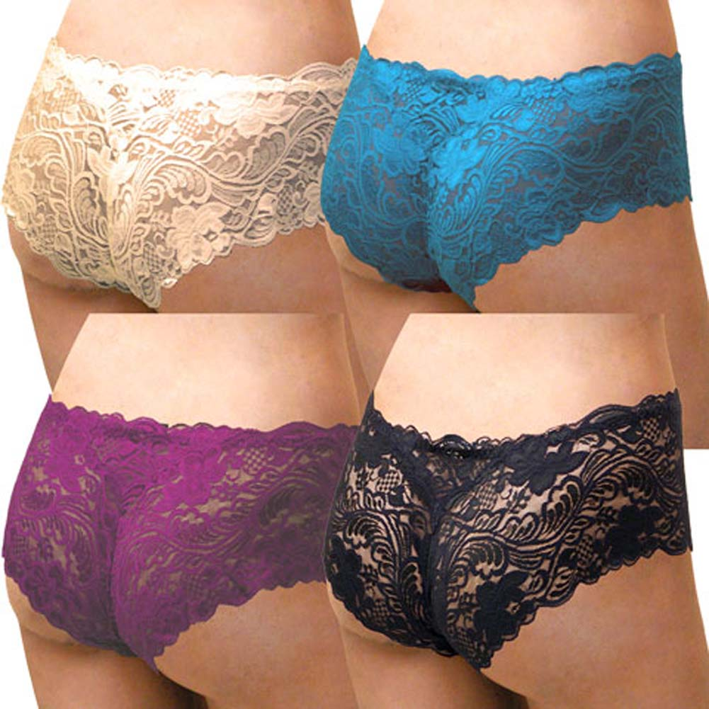 Floral Lace Boy Short Panty for Women Small 4 Pack Assorted Colors - View #2