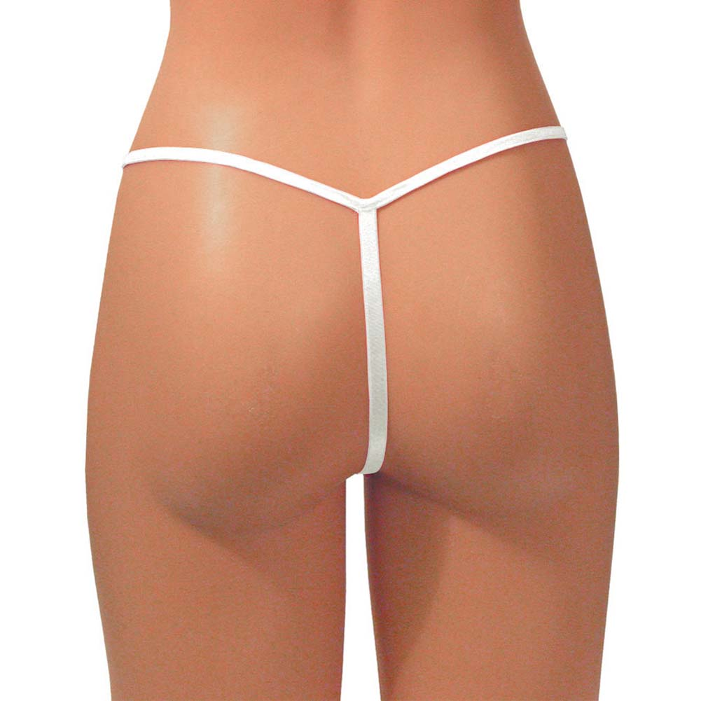 Dear Lady Collection Silk G-String Panty for Women One Size Soft White - View #1