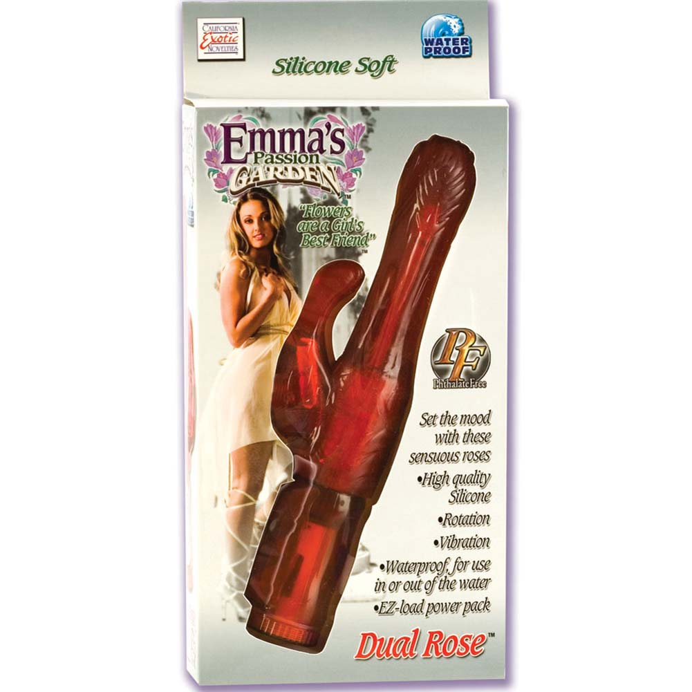 """Emmas Passion Garden Dual Rose Waterproof Vibe 10"""" Red - View #4"""