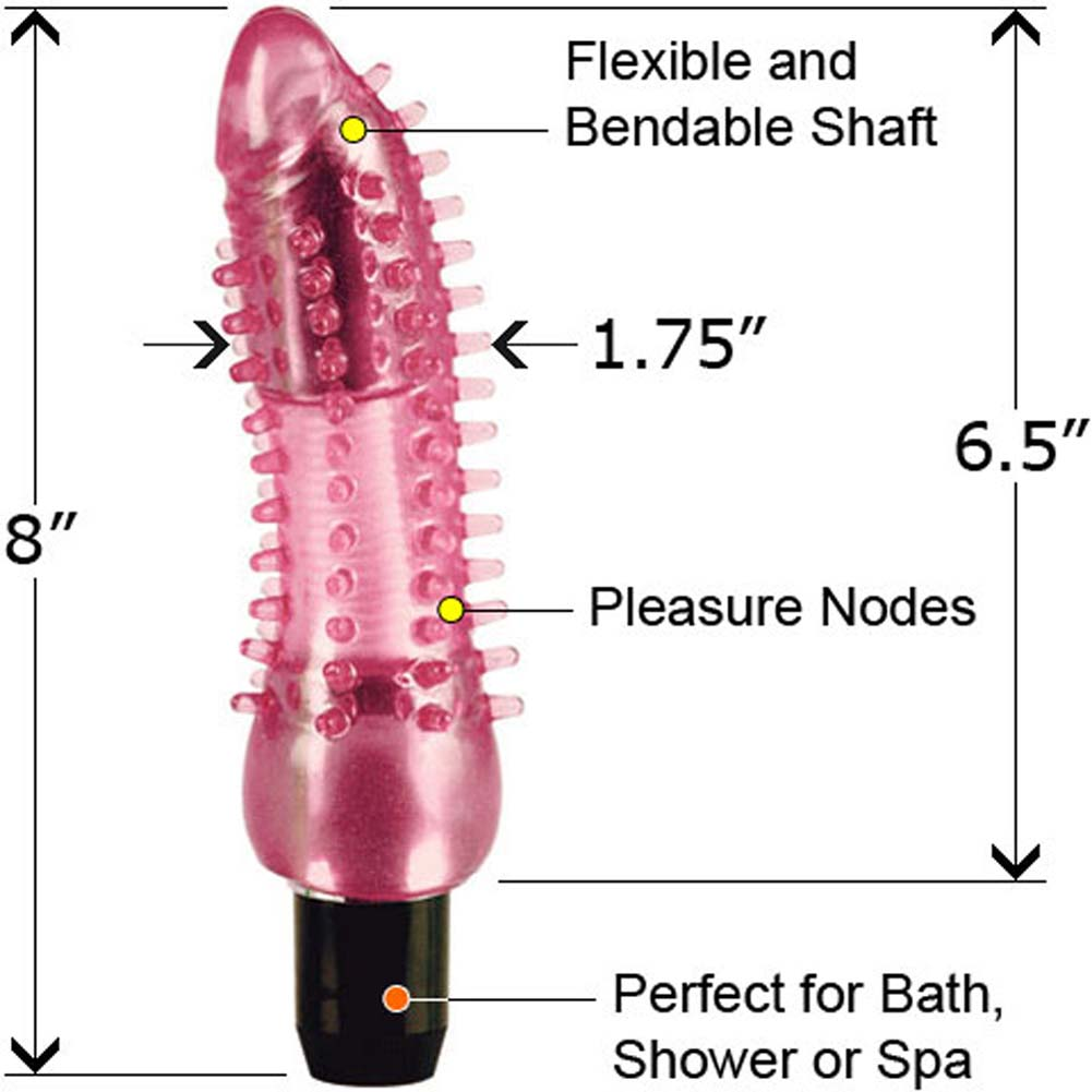 "Waterproof Vibrating EZ Bend 6.5"" Tickler Pink - View #2"