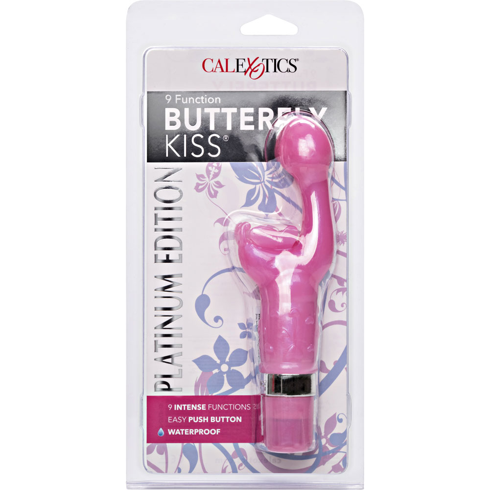 "CalExotics Platinum Edition Butterfly Kiss Waterproof Vibe 7"" Pink - View #4"
