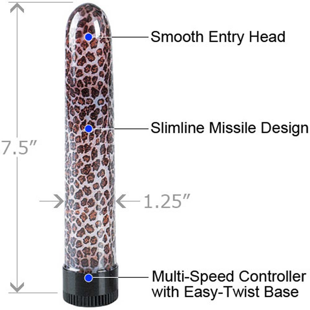"California Exotics Temptress Collection Slimline Personal Vibrator 7.5"" Leopard - View #1"